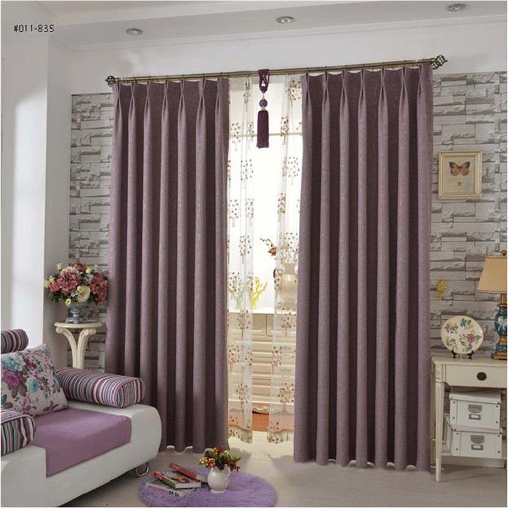 HOME UK- Ein Satz von 2 PC geprägtes Flachs-Vorhang-Schattierung-fertiges Produkt-Wohnzimmer-Schlafzimmer-einfache moderne moderne Farbe ( größe : 3.5*2.7m (width*height) )