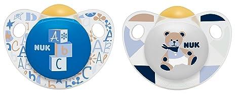 NUK 10171080 chupetes Trendline látex, 0 a 6 meses, 2 piezas, azul/blanco