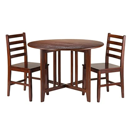 Winsome Wood Alamo 3 Piece Round Drop Leaf Table With 2 Hamilton
