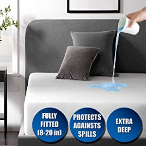 Niagara Sleep Solution Waterproof Mattress Pad Protector Cover Twin Deep Pocket 39x75 Breathable Noiseless 8-20Inches Bed Smooth Jersey Mattress Pad Cover Fully Ultra Thin