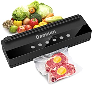 Oacvien Vacuum Sealer Machine, Automatic Food Sealer with Air sealing system and Dry Soft Moist Food Modes, Continuous sealing w/Starter Kit | Bag Cutter | Easy to Clean & Keep Food Fresh(Black Gray)
