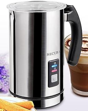 Secura Espumador eléctrico automático y calentador de leche 500ml Plata