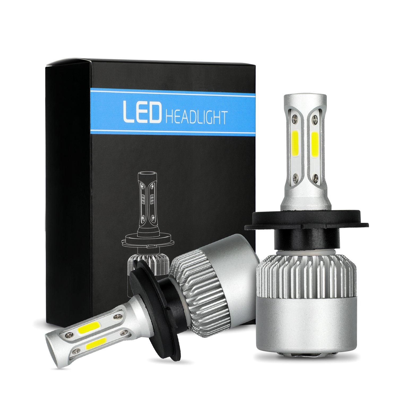 Phares LED H4 Ampoule 72W 7200LM Super lumineux ampoules de phares de voiture étanche Cool Blanc 6000K COB LED Phare Kit de conversion remplacer pour ampoules halogène HID (H4/HB2/9003)