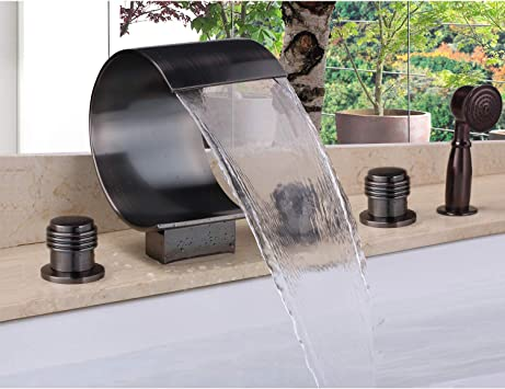 Contemporary Oil Rubbed Bronze Tub And Shower Faucet Set Bathtub