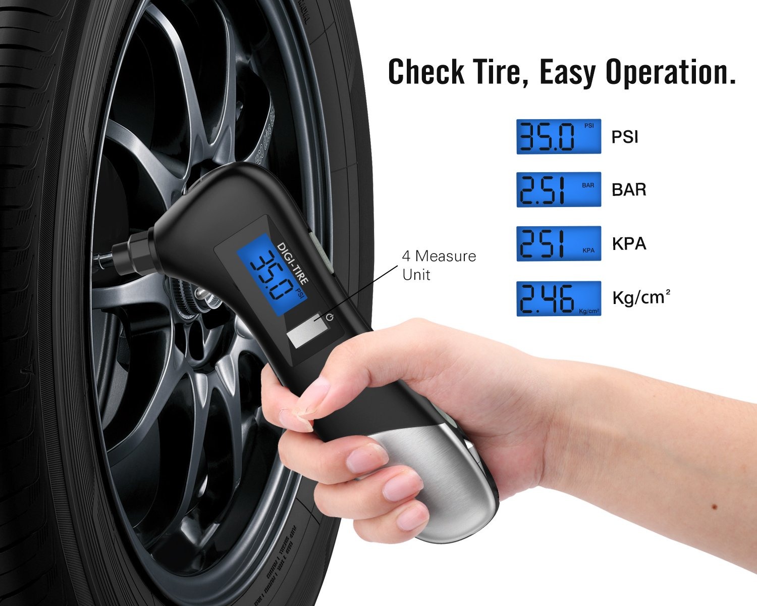 Black MoKo 9-in-1 Digital Tire Pressure Gauge Multitool with Built-in 8 Emergency Tools for Car All Vehicles