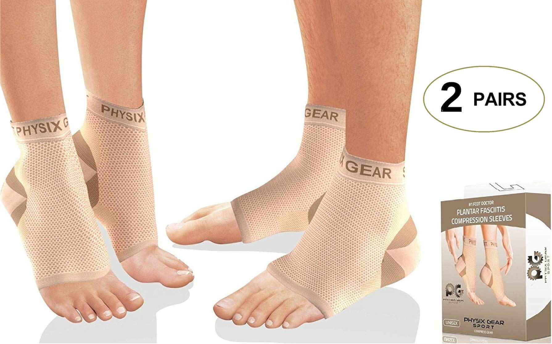 2 PAIRS Plantar Fasciitis Socks with Arch Support, BEST 24/7 Foot Care Compression Sleeve, Better than Night Splint, Eases Swelling & Heel Spurs, Ankle Circulation, Relieve Pain Fast - Beige S/M