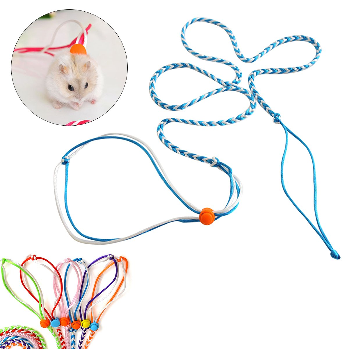 UEETEK Harnais réglable Hamster Leash and Collar Walking Lead pour Hamster Cricetulu Mouse Mouse Squirrel Petits Animaux Flexible Handle Rope 2M (Aléatoire Couleur)