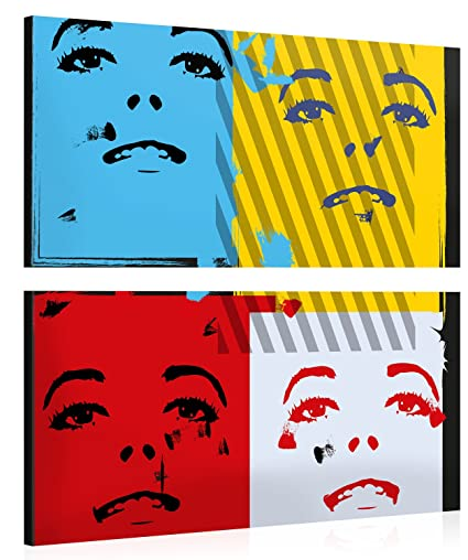 Premium de impresión pared de imagen – Pop Art Faces – Modern Art XXL Giclee Canvas