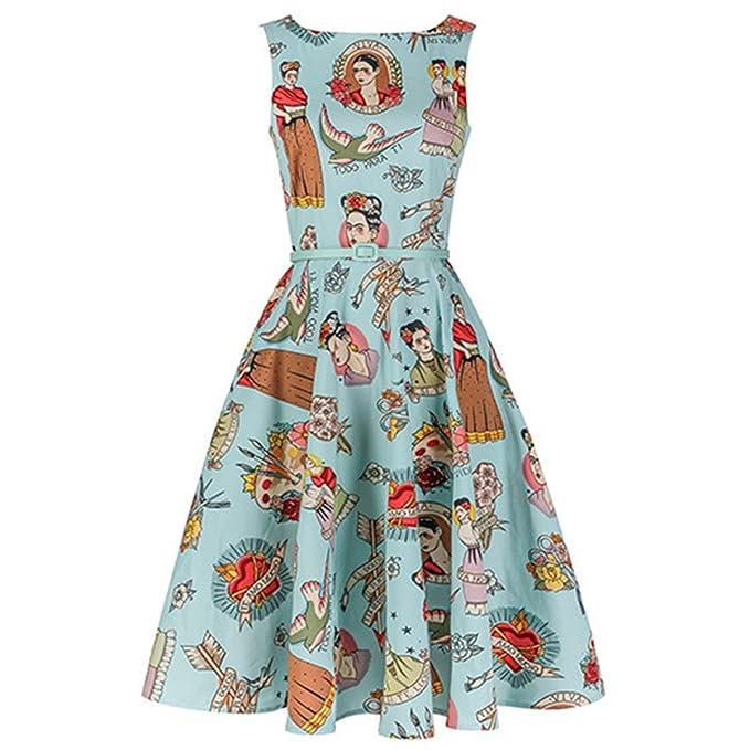 ZFFde Vestido sin Mangas del Partido del Vintage del Cóctel del Partido de la Vendimia de Frida Kahlo sin Mangas con la Correa para el Vestido de Fiesta: ...