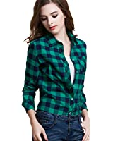 Tanming Women's Long Sleeve Fashion Plaid Shirts