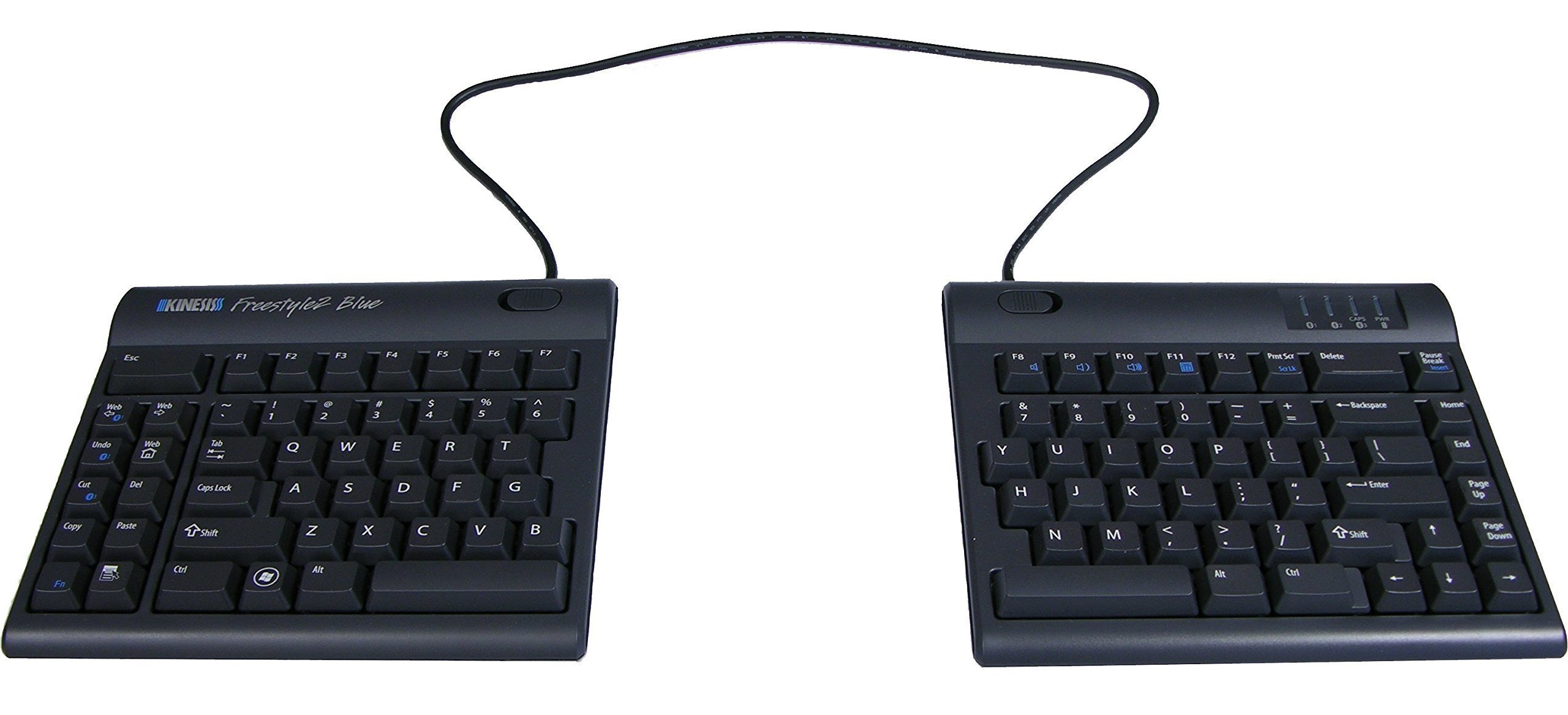 Kinesis Freestyle2 Blue Wireless Ergonomic Keyboard for PC (20'' Extended Separation)