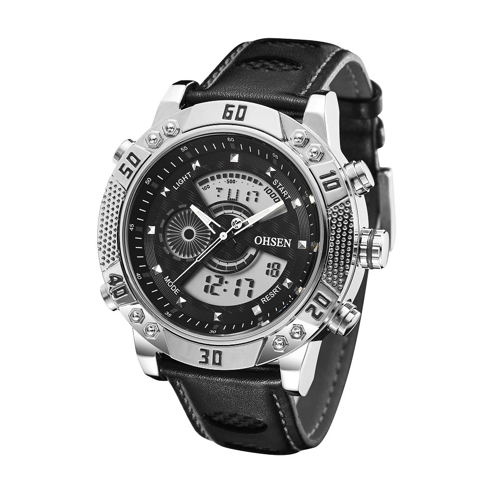 Cool Fashionable New Unisex Outdoor Sport Casual Running Analog-Digital Watch Skeleton Hands Luminous