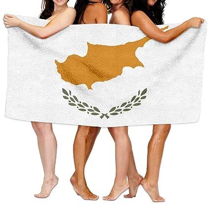 Pillow hats Toalla de Playa con Bandera de Chipre de 80 x 130 Pulgadas, Suave