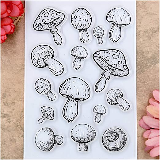 Kwan Crafts Mushroom Clear Stamps for Card Making Decoration and DIY Scrapbooking