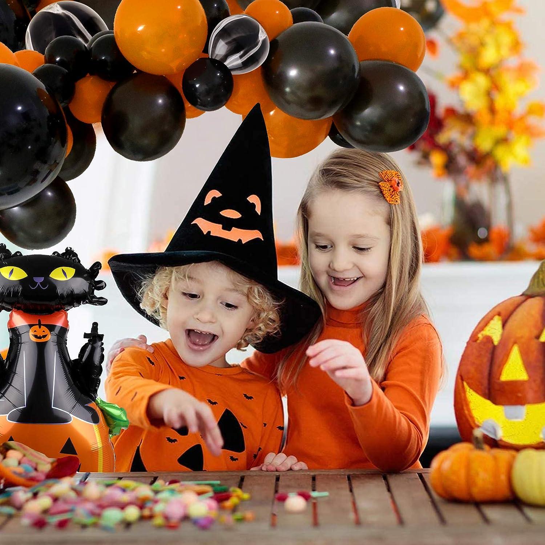 Camelize Halloween Luftballons Arch Garland Kit 81 St/ück Halloween Latex Luftballons in Schwarz und Orange mit K/ürbiskatze f/ür Hochzeit Geburtstagsfeier Halloween Dekorationen