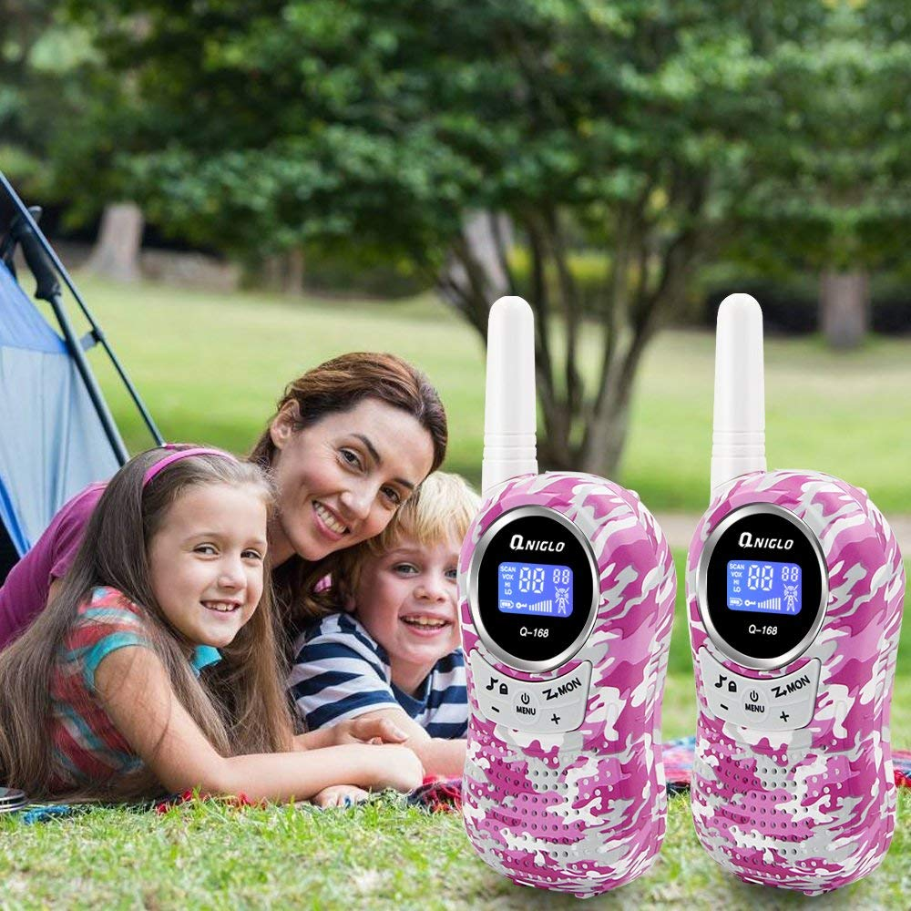 Qniglo Walkie Talkies for Kids, 22 Channels 2 Way Radios 3 Miles Long Range Kids Walkie Talkies, Toys Gifts for 3-12 Year Old Boys and Girls (Camo Pink, 1 Pair) by Qniglo (Image #7)