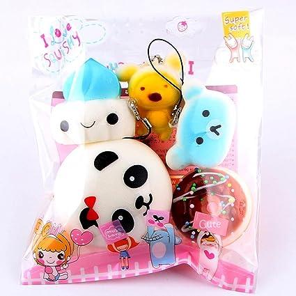 Saihui 5 piezas de juguetes para aliviar el estrés, tamaño mediano, pequeño, lento y suave, para niños y adultos, llavero, teléfono colecciones, ...