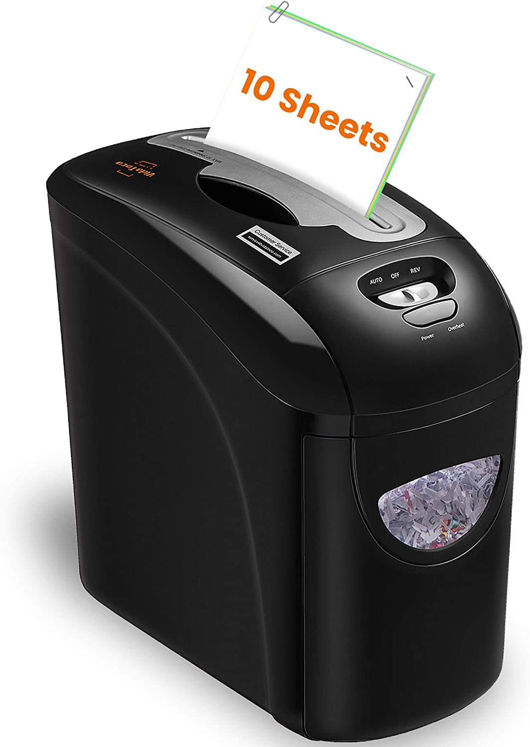 Paper Shredder, VidaTeco 10-Sheet Micro-Cut Shredder with US Patented Cutter, Superior Security Level P-4, Card/Paper Shredder for Home Office with Jam Proof System, 2.65-Gallon Pull Out Basket(ETL)