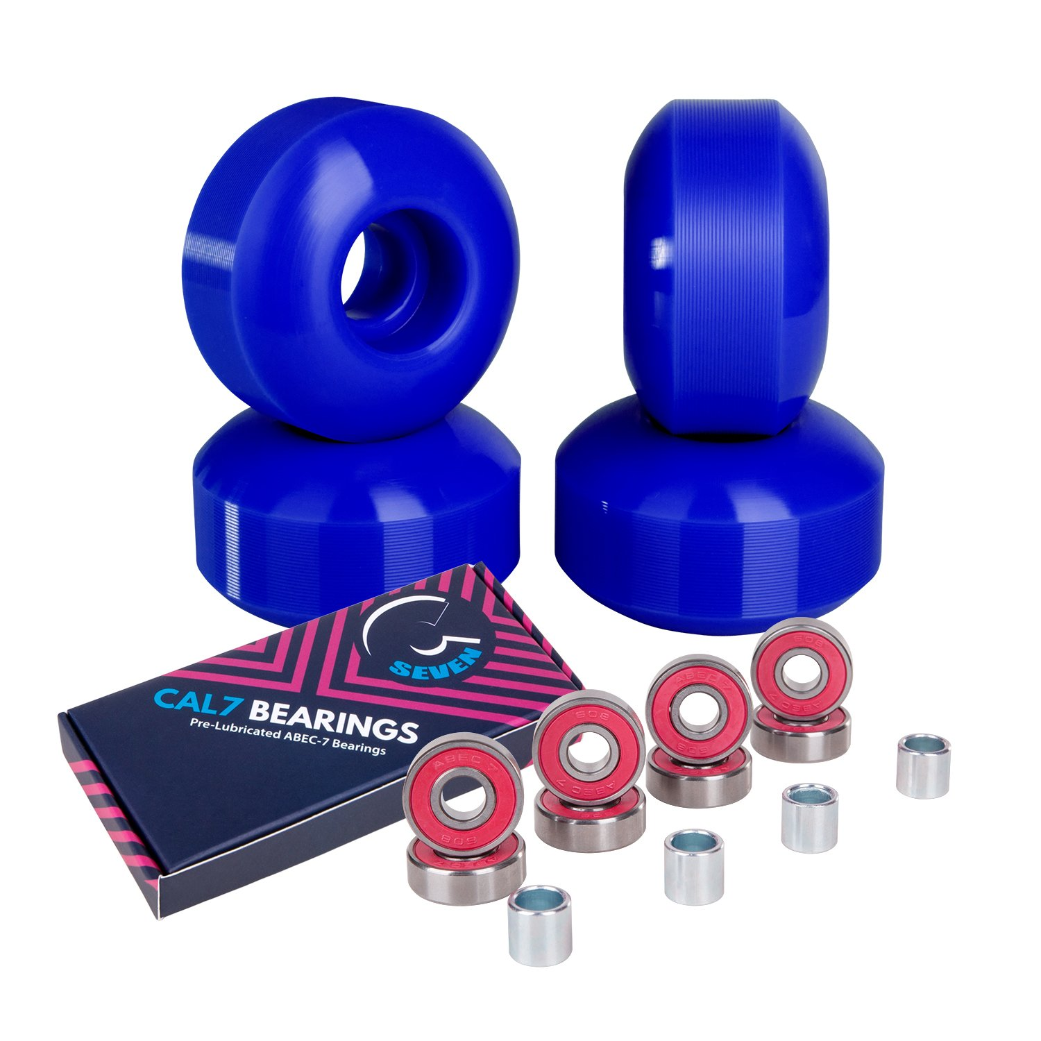 Cal 7 52mm Skateboard Wheels with Bearings (Blue) by Cal 7