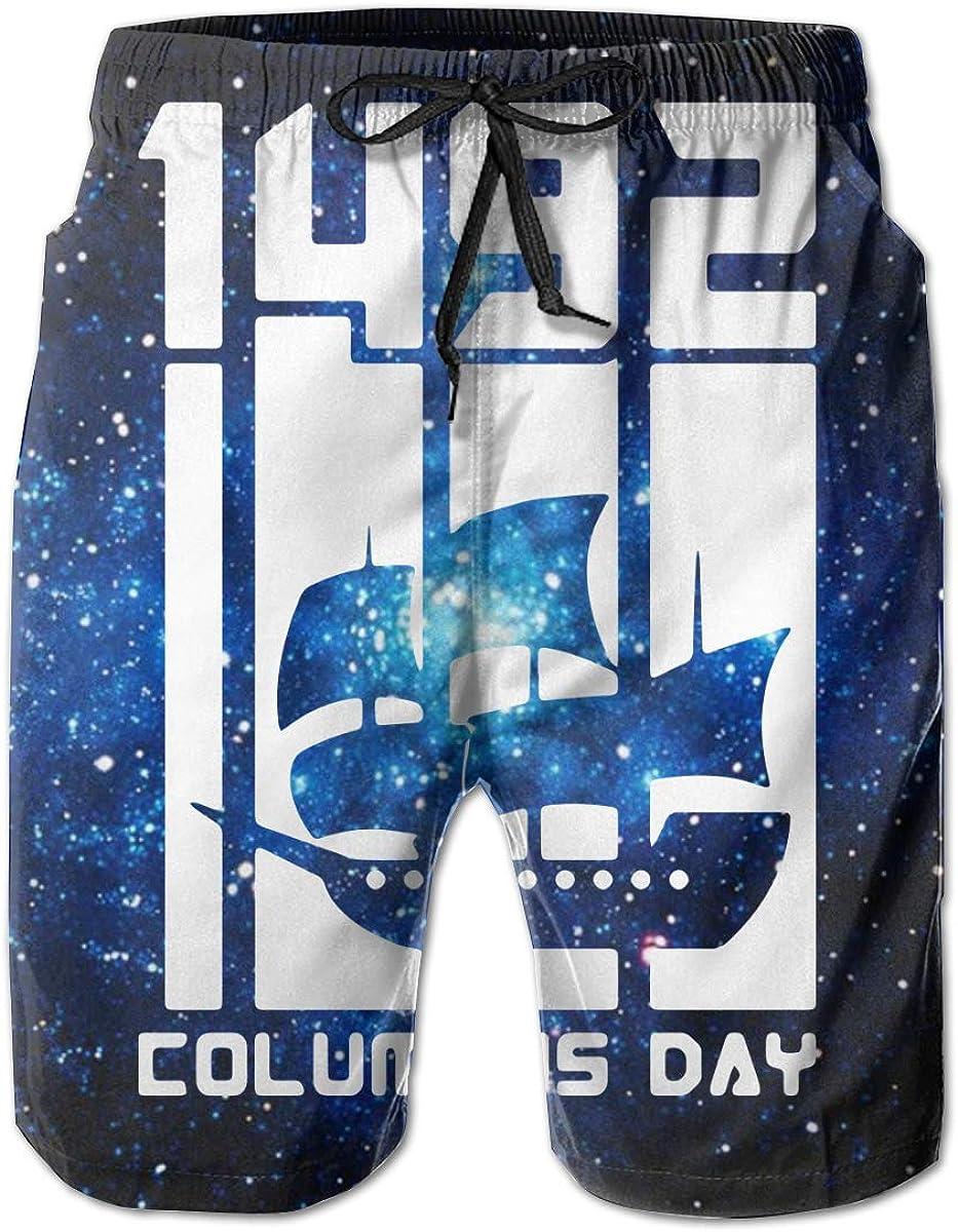 UHT28DG Columbus Day 1942 Mens Beach Board Shorts Sports Runnning Beachwear