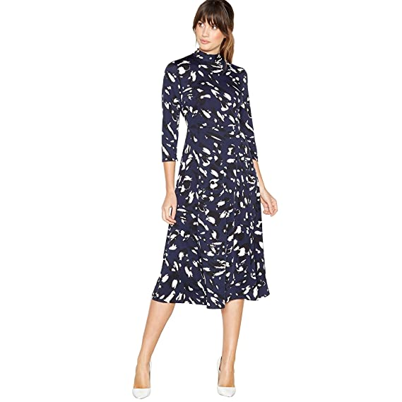 931831b566c8 Image Unavailable. Image not available for. Colour: Principles Womens Navy Leopard  Print Midi Dress 12