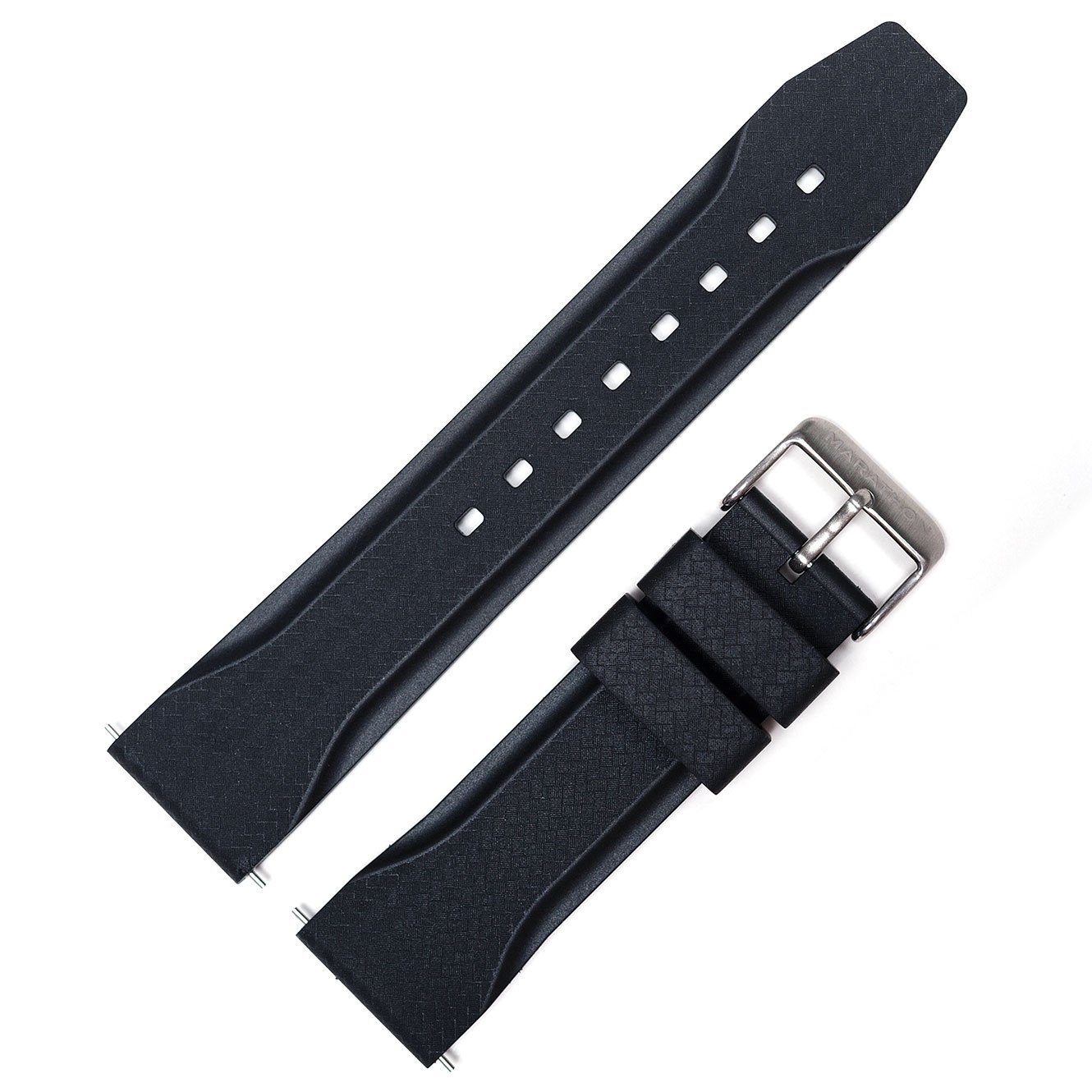 Marathon WW005015 Divers Model Rubber Watch Band/Strap. Made in Italy (22 mm, Black)