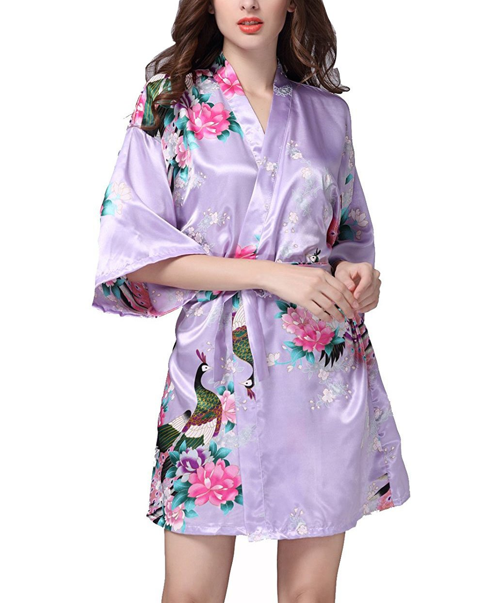 Vlazom Women Kimono Robes Satin Dressing Gown Peacock and Blossoms Sleep Lounge Nightwear Short Silk Bride Bridesmaid Robe