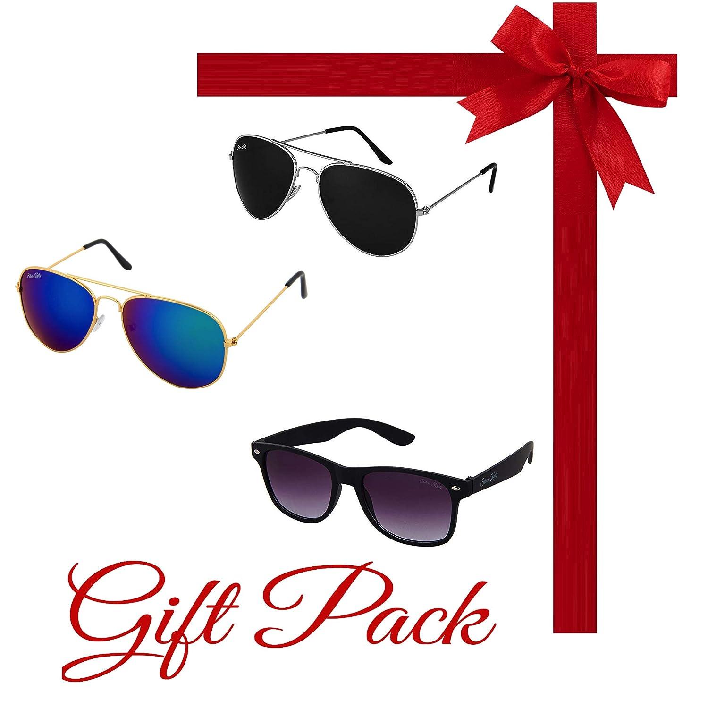 Silver Kartz Gift Pack of Best Selling Combo of Three Aviator and Wayfarer UV Protection Sunglasses kr019