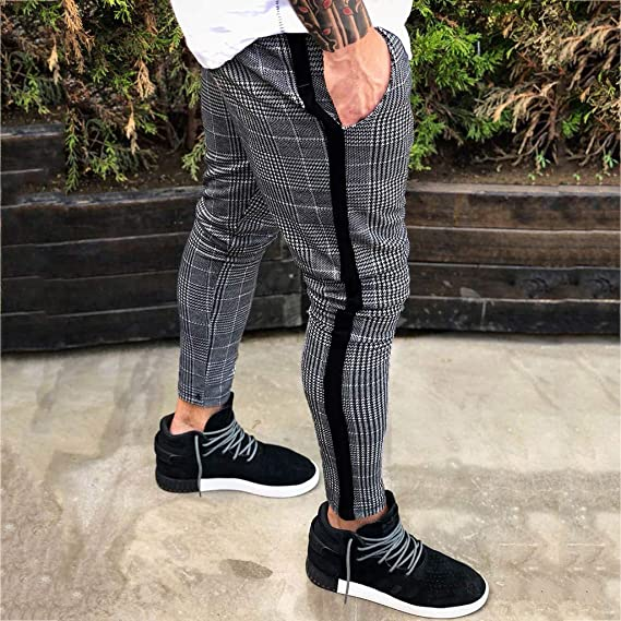 Pantalones para Hombre Largos Moda Estampado a Cuadros Bolsillo ...