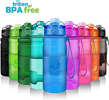 Sports Water Bottle Wide Mouth BPA Free Plastic Travel Cylcing Camping Spout Cup