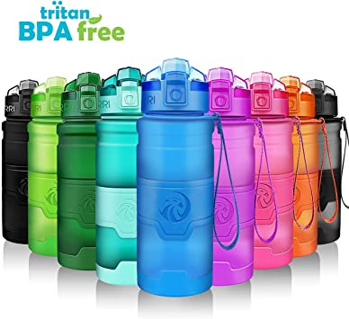 ZORRI Sports Water Bottle, 400/500/700ml/1L, BPA Free Leak Proof Tritan Lightweight Bottles for Outdoors,Camping,Cycling,Fitness,Gym,Yoga- Kids/Adults ...