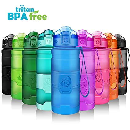 f1e5682d36 ZORRI Sports Water Bottle, 400/500/700ml/1L, BPA Free Leak Proof Tritan  Lightweight Bottles for Outdoors,Camping,Cycling,Fitness,Gym,Yoga-  Kids/Adults Drink ...