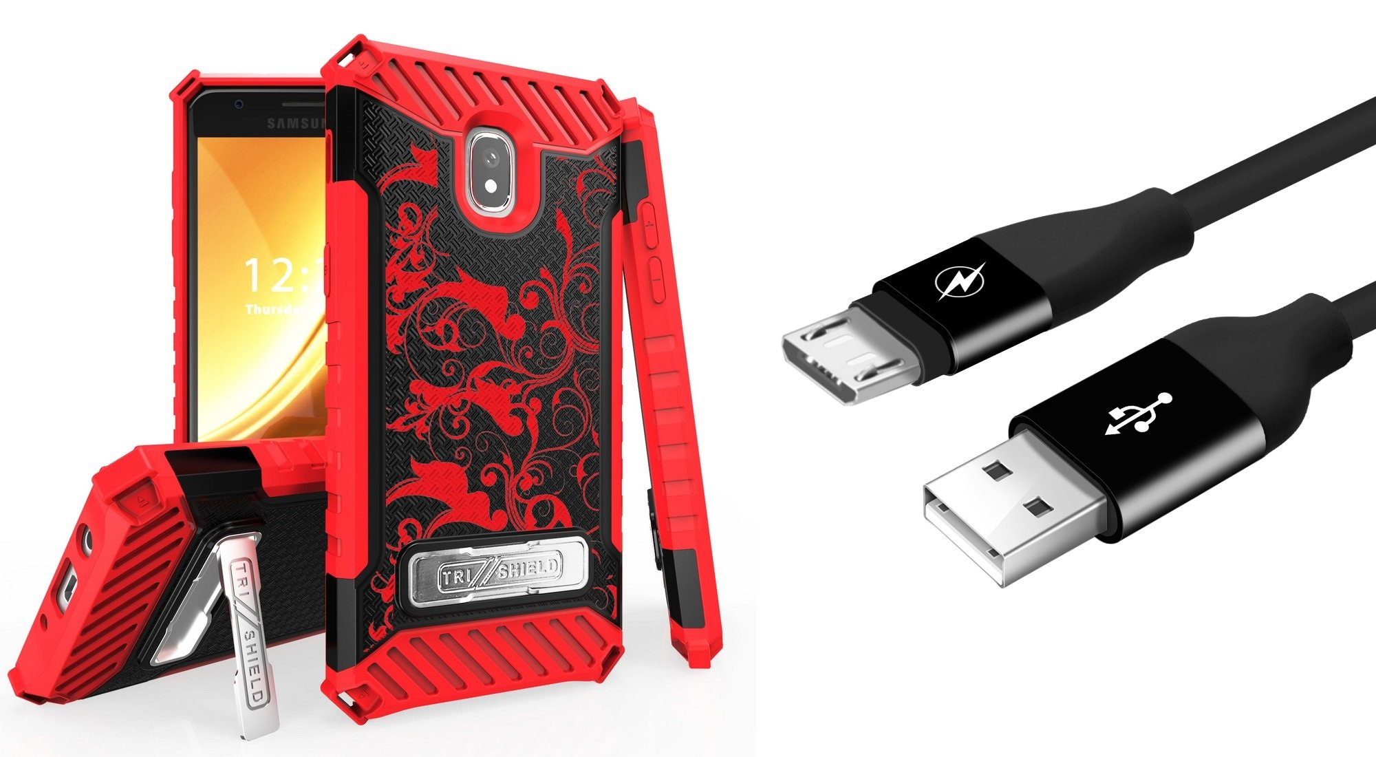 Military Grade [MIL-STD 810G-516.6] Kickstand Card Slot Case (Red Vines) with Durable 5000+ Bend Lifespan Micro USB Cable (3 feet) and Atom Cloth for Samsung Galaxy Express Prime 3 (J337A) AT&T