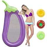 Geefia Eggplant Giant Pool Float, Inflatable Floats Pool Raft 3 Cup Holder Outdoor Swimming