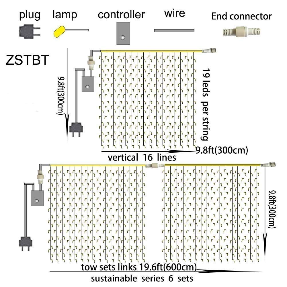 ZSTBT UL Safe 304 LED 9.8Feet Connectable Curtain Lights Icicle Lights Fairy String Lights with 8 Modes for Wedding Party Family Patio Lawn Decoration by ZSTBT (Image #7)
