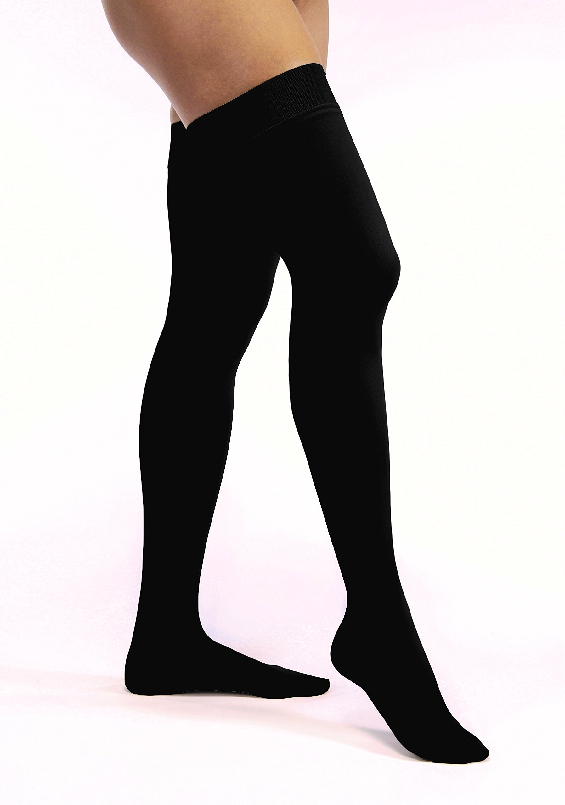 Women's Opaque 30-40 mmHg Closed Toe Thigh High Extra Firm Support Stocking Size: Small, Color: Classic Black