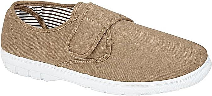Hombre Kevin Shoe Tree Corte Ancho De Lona Casual Cierre De Velcro Zapato De Tacón Zapatillas Zapatos Náuticos Mocasín Talla Eu 34-40 - hombre, Gris Topo, 43 EU