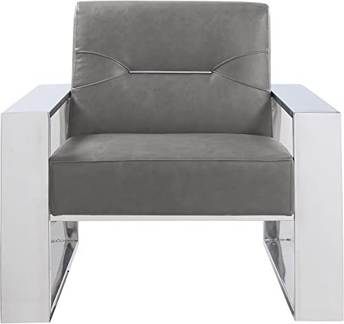 Iconic Home Colton Modern Contemporary Sculptural Polished Nickel – Finished Stainless Steel Leatherette Accent Chair, Grey