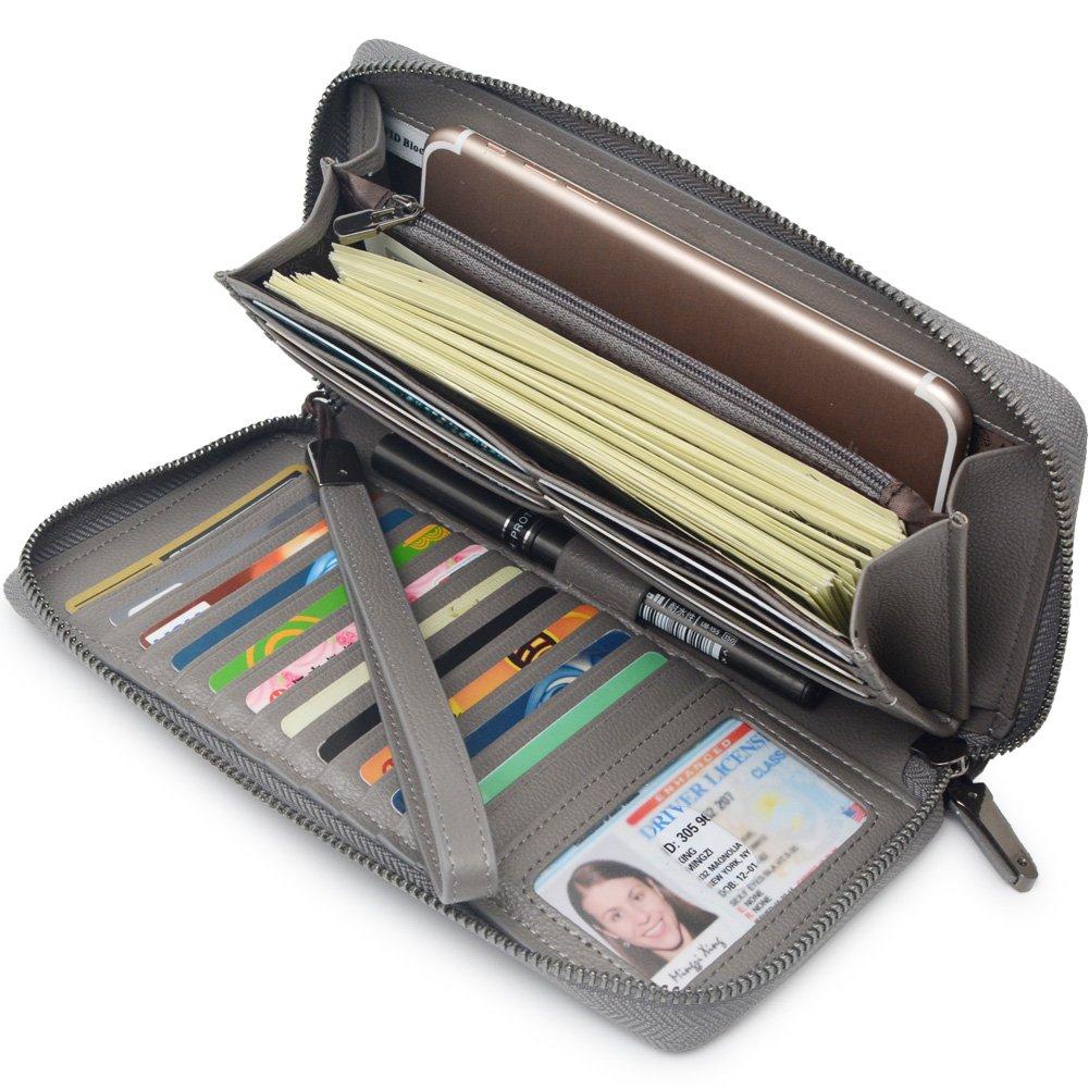 Women RFID Blocking Wallet Leather Zip Around Clutch Large Travel Purse Wrist Strap (Grey)