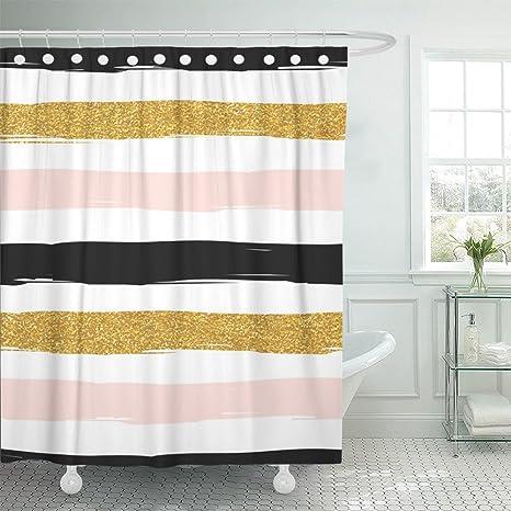 Emvency Tenda doccia stampa 72 x 72 a righe rosa acquerello oro rosa bianco e  nero
