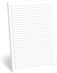 "321Done Checklist Notepad Planning Pad - 50 Sheets (5.5"" x 8.5"") to Do Tear Off, Checkbox List - Made in USA - Blank Plain White"