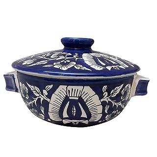 Cuenco para servir con tapa, cerámica, hecho a mano, de cerámica Khurja Pottery, juego de 1 multicolor