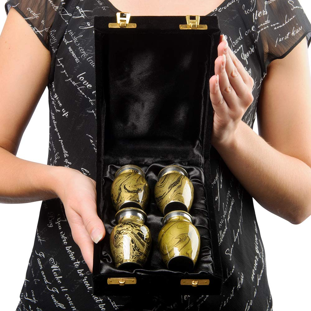 Desert Sands Beautiful Small Mini Keepsake Urn for Human Ashes – Set of 4 – with a Lovely Gold and Black Finish That Will Bring You Comfort and Peace – with Velvet Case and 4 Pouches