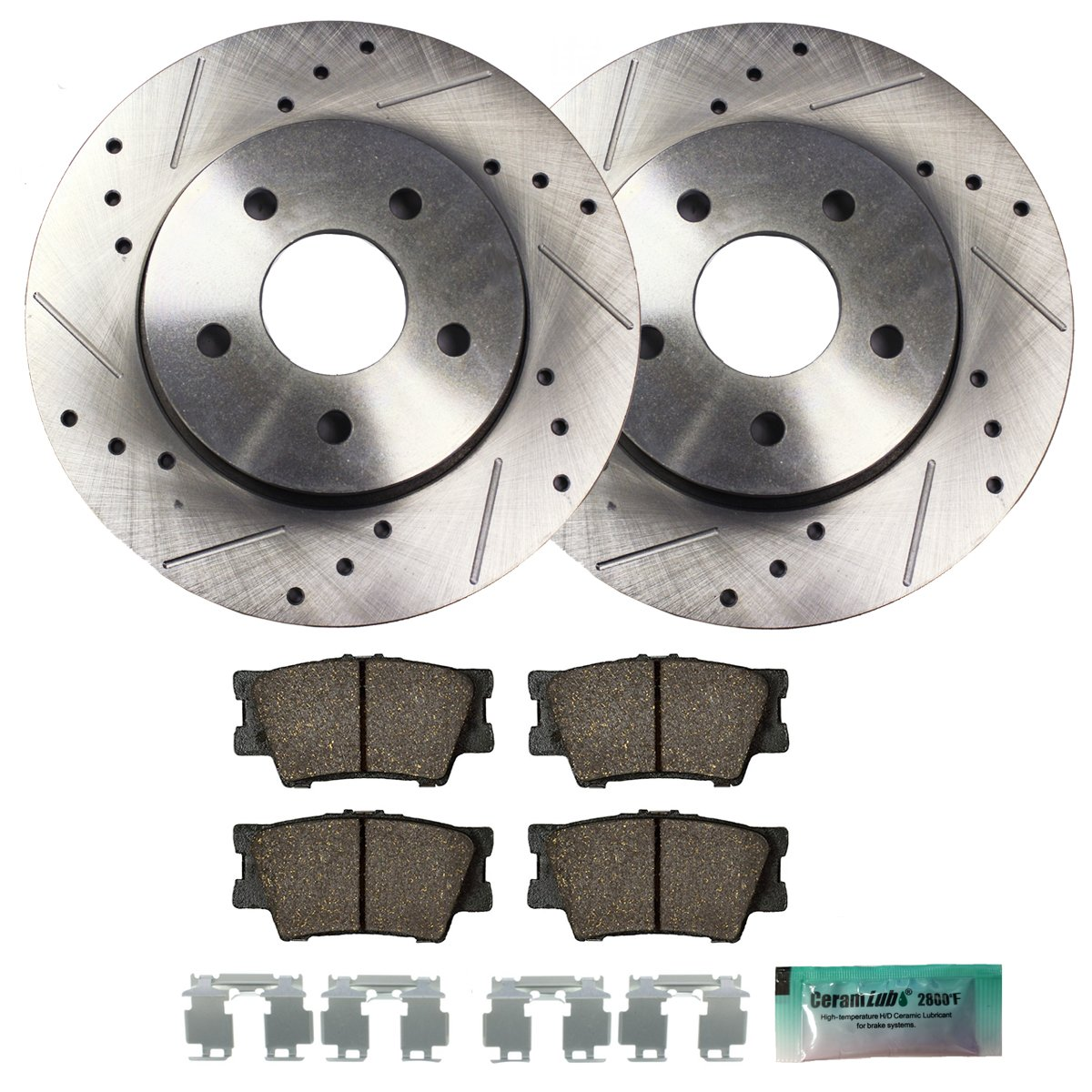 Detroit Axle - Drilled & Slotted Rear Brake Rotors & Brake Pads w/Clips Hardware Kit Performance GRADE for 2007-2012 Lexus ES350 - [2008-2012 Toyota Avalon] - 2007-2011 Toyota Camry