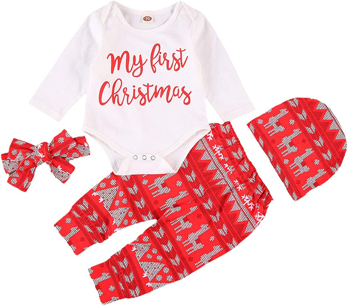 4pcs My First Christmas Baby Boys Girsl Bodysuit Pants Clothes Shoes Outfit Xmas