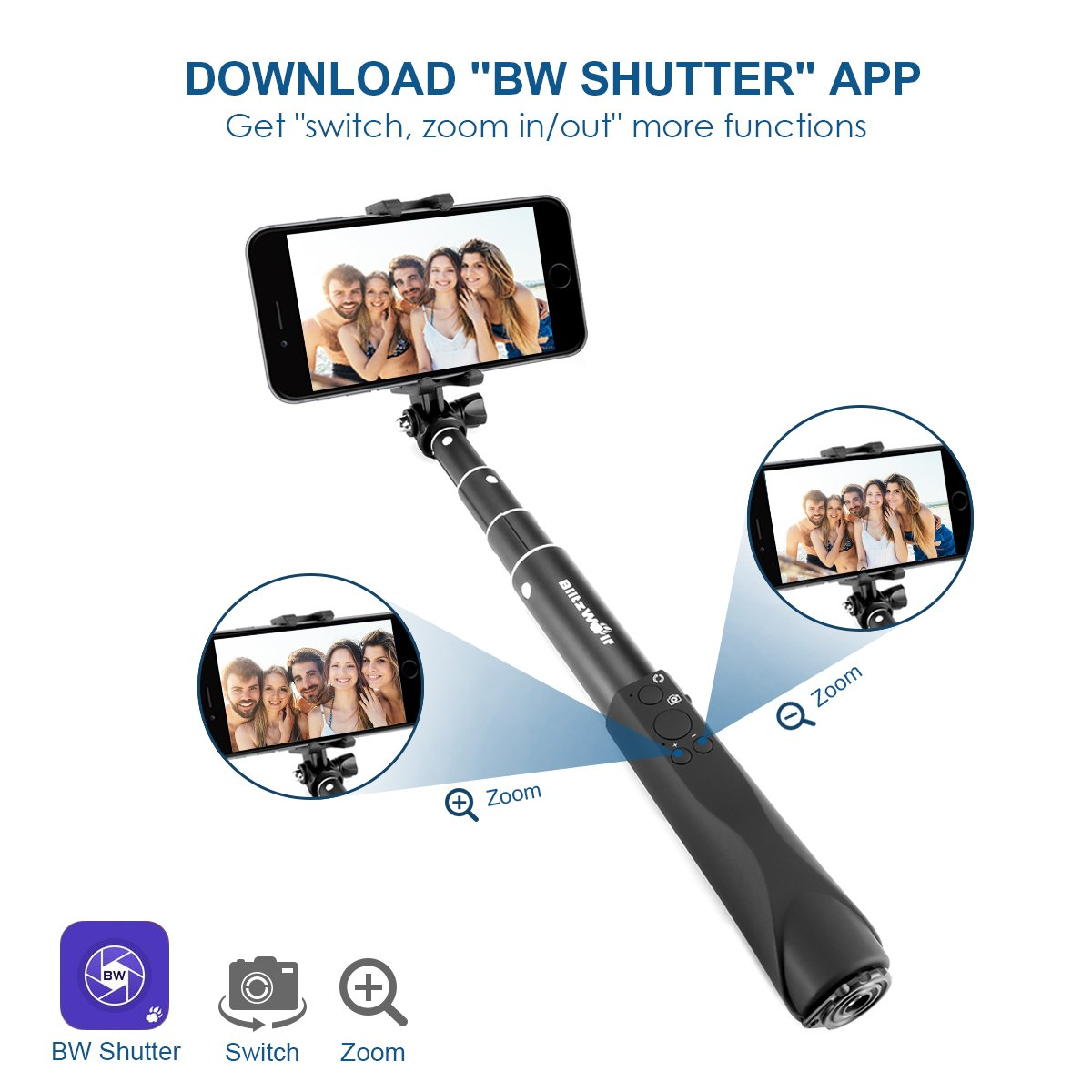 Bluetooth Selfie Stick, BlitzWolf Built-in Remote Shutter Self-Portrait Extendable Wireless Monopod with Zoom and Camera Switching Button for iPhone SE/7/7 Plus/6S Plus/6S/6/5S/5C/5, Samsung Galaxy S5/S6/S6 Edge, Note4/5, LG G2/3, HTC, Sony