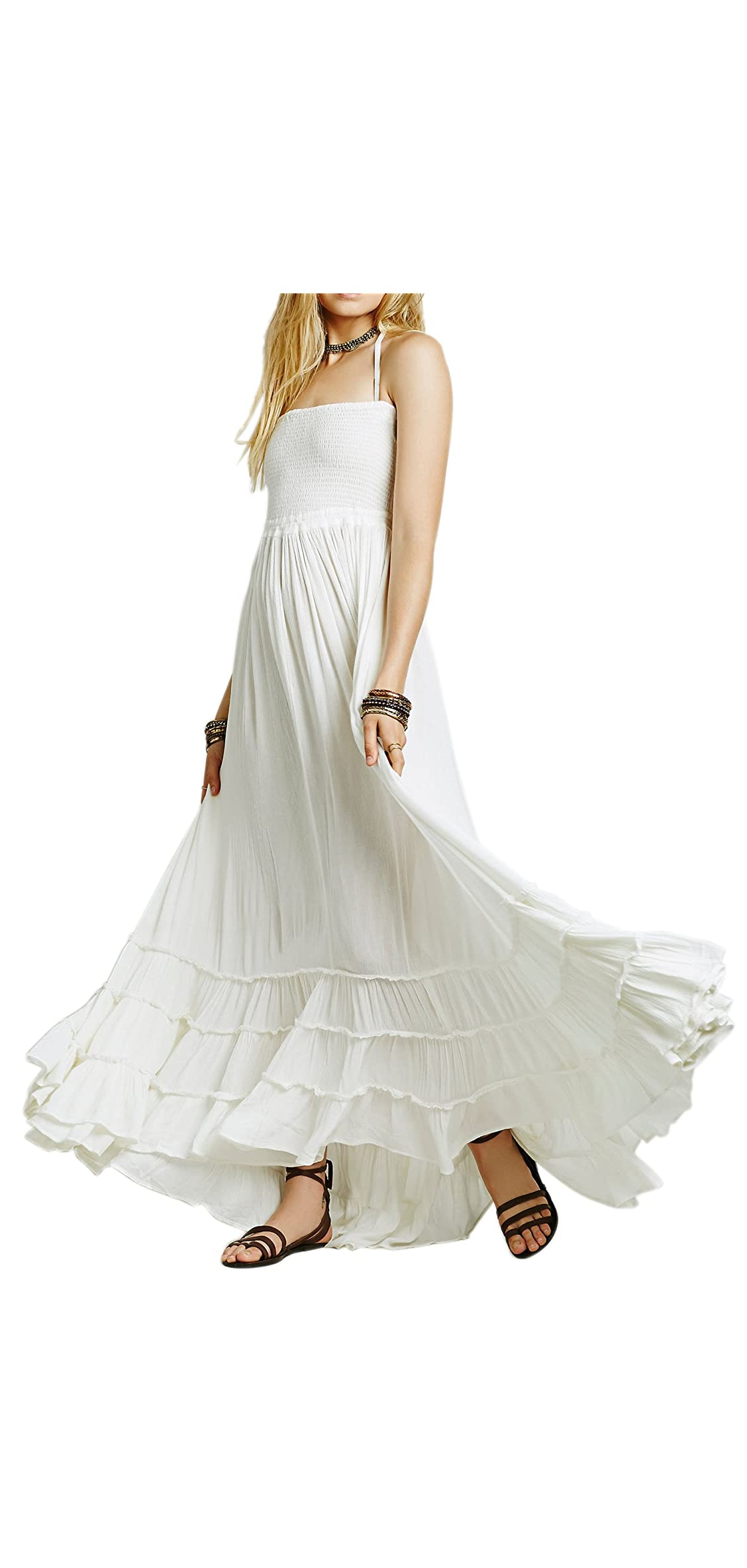 Womens Summer Cotton Sexy Blackless Long Dresses