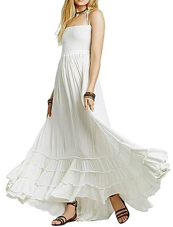 2849099b97127 Women Summer Cotton Backless Beach Boho Sexy Maxi Long Dresses XLarge  White  Amazon.co.uk  Clothing