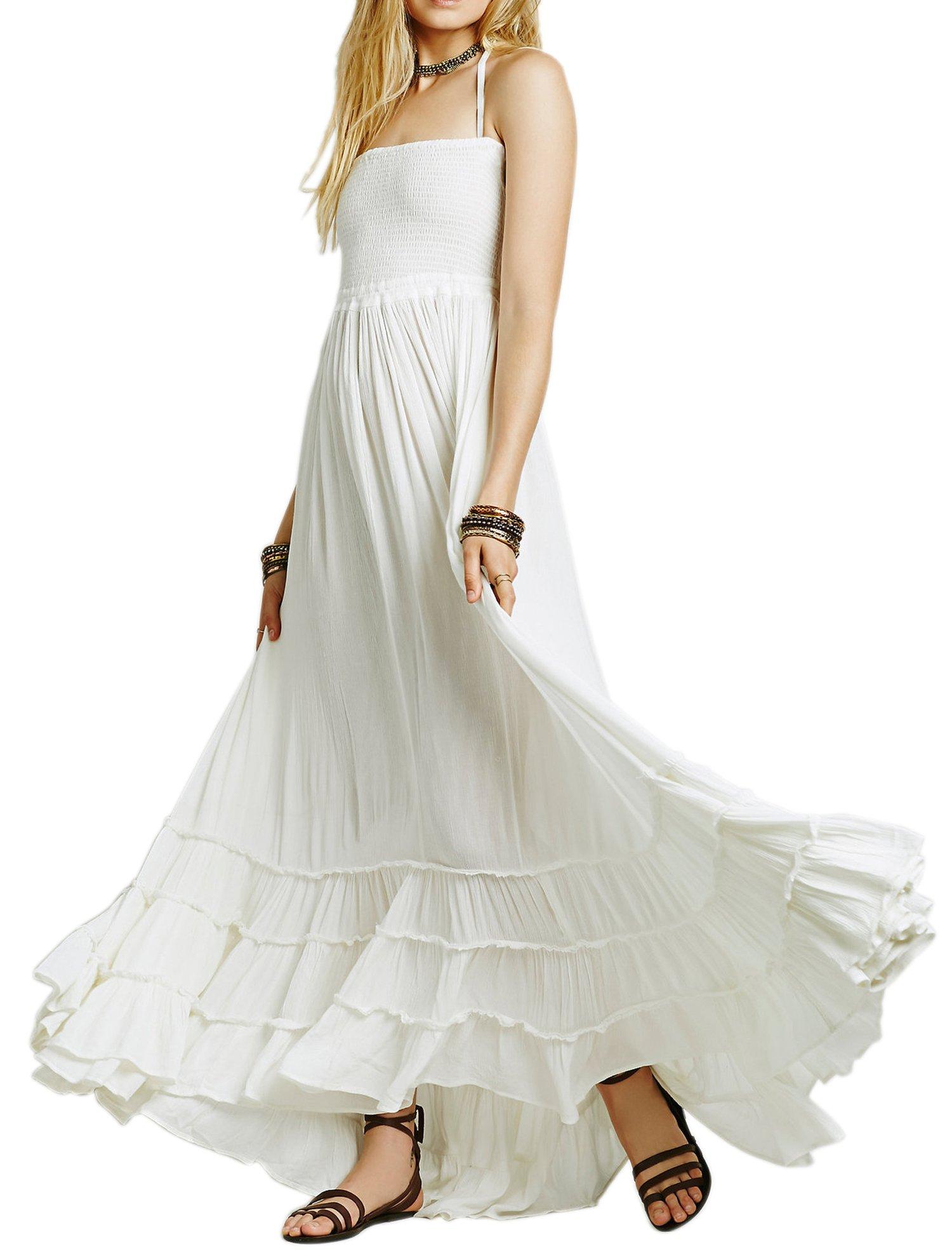 R.Vivimos Women Summer Cotton Sexy Blackless Long Dresses Small White