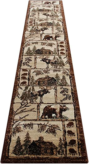 Lodge Cabin Long Runner Area Rug Design 362 2 Feet 4 Inch X 10 Feet 10 Inch Runner